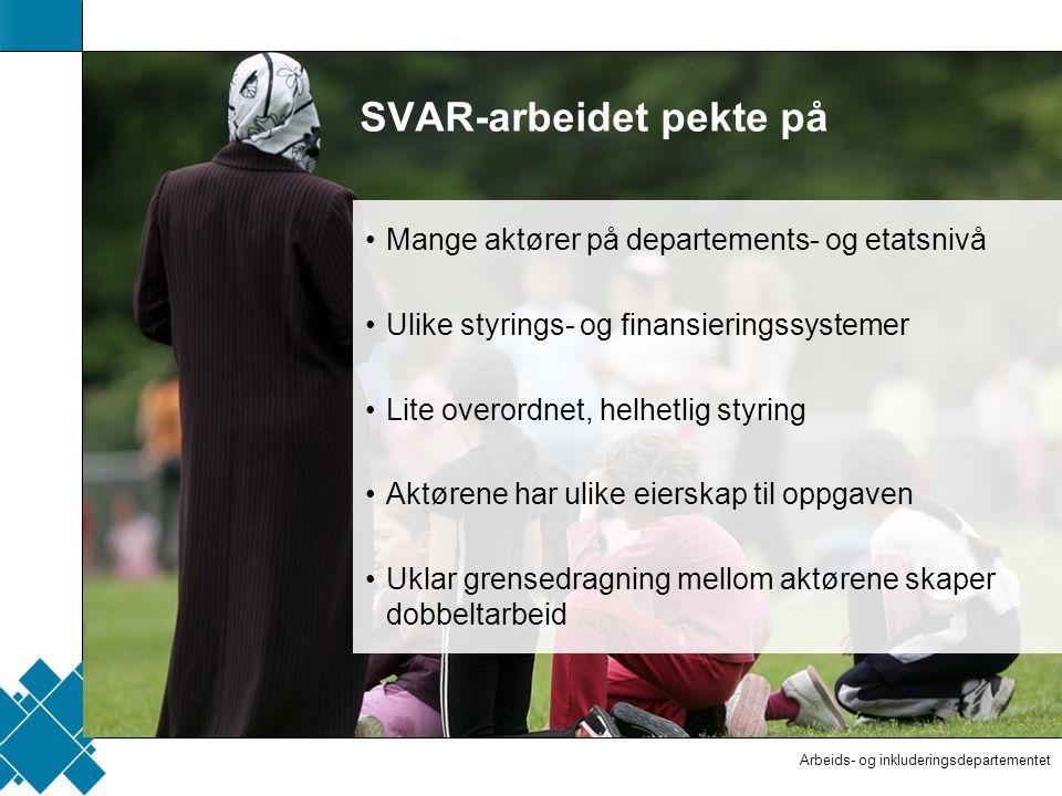 Arbeids- og inkluderingsdepartementet  Tittelfelt   Innholdsfelt  AID standard SVAR-arbeidet pekte på Mange aktører på departements- og etatsnivå