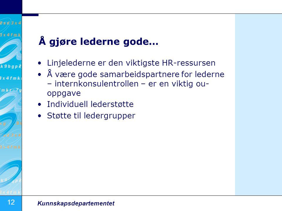 12 Kunnskapsdepartementet Å gjøre lederne gode… Linjelederne er den viktigste HR-ressursen Å være gode samarbeidspartnere for lederne – internkonsulen