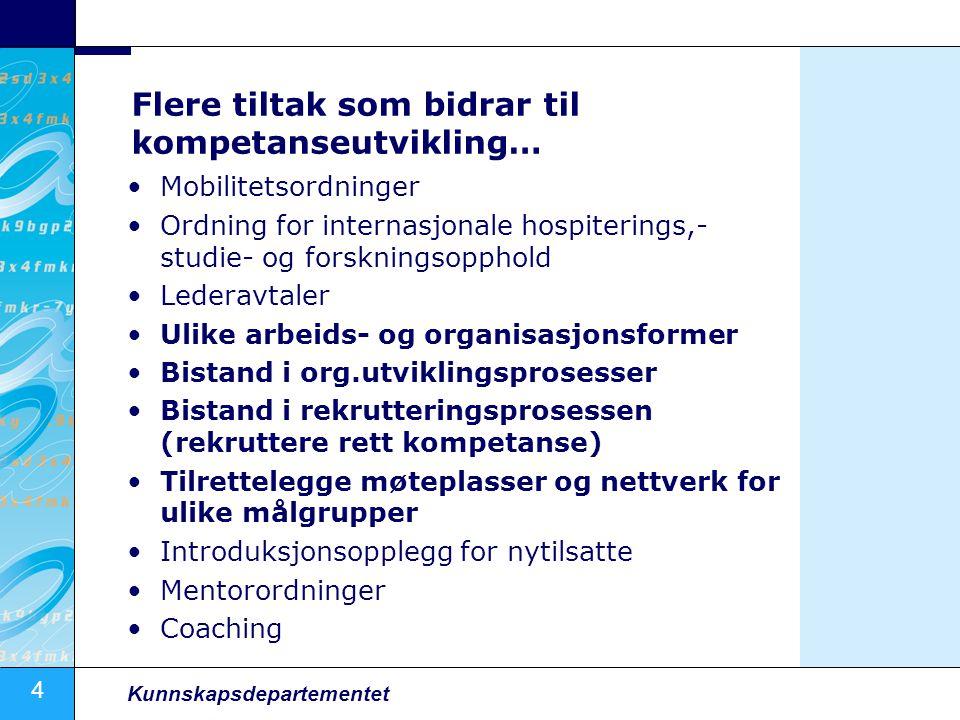 4 Kunnskapsdepartementet Flere tiltak som bidrar til kompetanseutvikling… Mobilitetsordninger Ordning for internasjonale hospiterings,- studie- og for