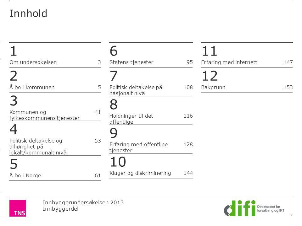 3.14 X AXIS 6.65 BASE MARGIN 5.95 TOP MARGIN 4.52 CHART TOP 11.90 LEFT MARGIN 11.90 RIGHT MARGIN Innbyggerundersøkelsen 2013 Innbyggerdel Innhold 2 1