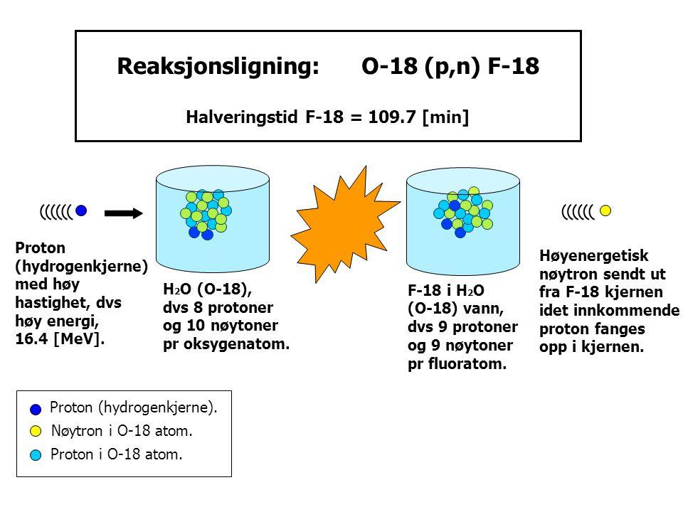 Proton (hydrogenkjerne) med høy hastighet, dvs høy energi, 16.4 [MeV]. H 2 O (O-18), dvs 8 protoner og 10 nøytoner pr oksygenatom. Proton (hydrogenkje