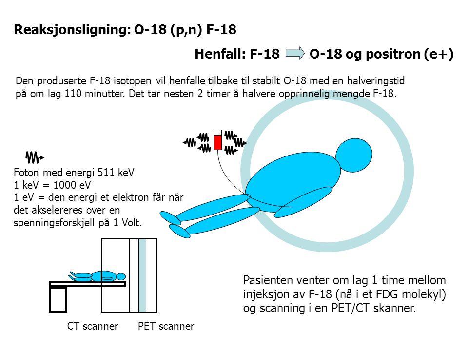Foton med energi 511 keV 1 keV = 1000 eV 1 eV = den energi et elektron får når det akselereres over en spenningsforskjell på 1 Volt. CT scannerPET sca