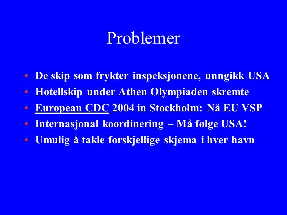 Problemer De skip som frykter inspeksjonene, unngikk USA Hotellskip under Athen Olympiaden skremte European CDC 2004 in Stockholm: Nå EU VSP Internasjonal koordinering – Må følge USA.