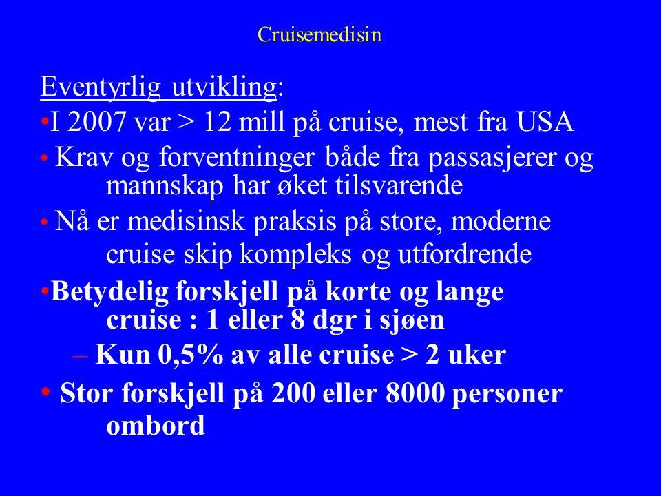 Cruisemedisin Eventyrlig utvikling: I 2007 var > 12 mill på cruise, mest fra USA Krav og forventninger både fra passasjerer og mannskap har øket tilsv