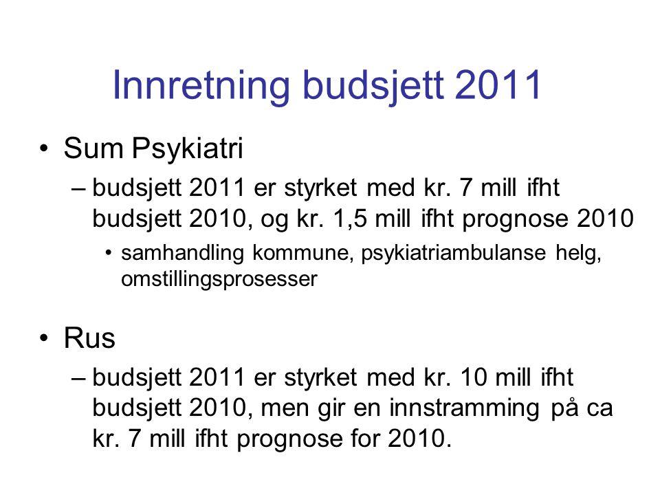 Innretning budsjett 2011 Sum Støtteenheter –budsjett 2011 er styrket med kr.