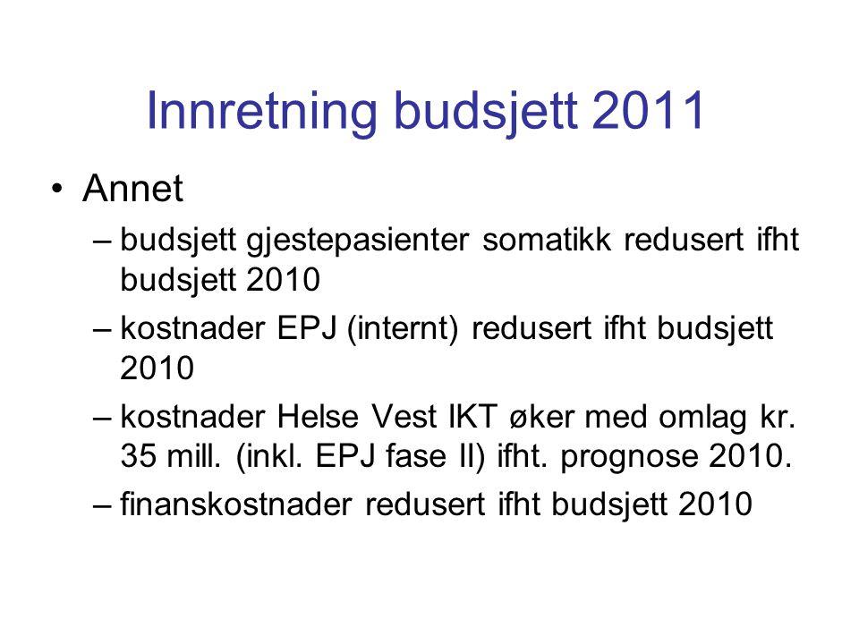 Innretning budsjett 2011 Annet –budsjett gjestepasienter somatikk redusert ifht budsjett 2010 –kostnader EPJ (internt) redusert ifht budsjett 2010 –kostnader Helse Vest IKT øker med omlag kr.