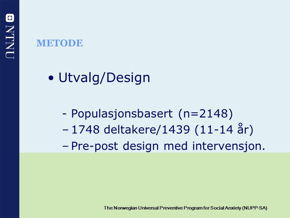 12 The Norwegian Universal Preventive Program for Social Anxiety (NUPP-SA) METODE Utvalg/Design - Populasjonsbasert (n=2148) –1748 deltakere/1439 (11-