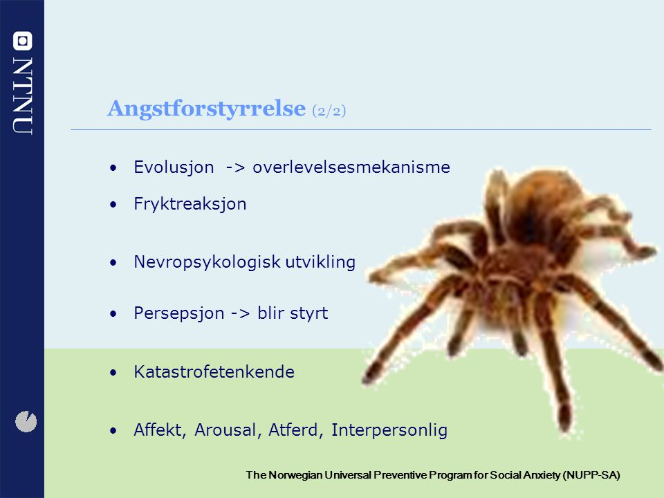 4 The Norwegian Universal Preventive Program for Social Anxiety (NUPP-SA) Angstforstyrrelse (2/2) Evolusjon -> overlevelsesmekanisme Fryktreaksjon Nev