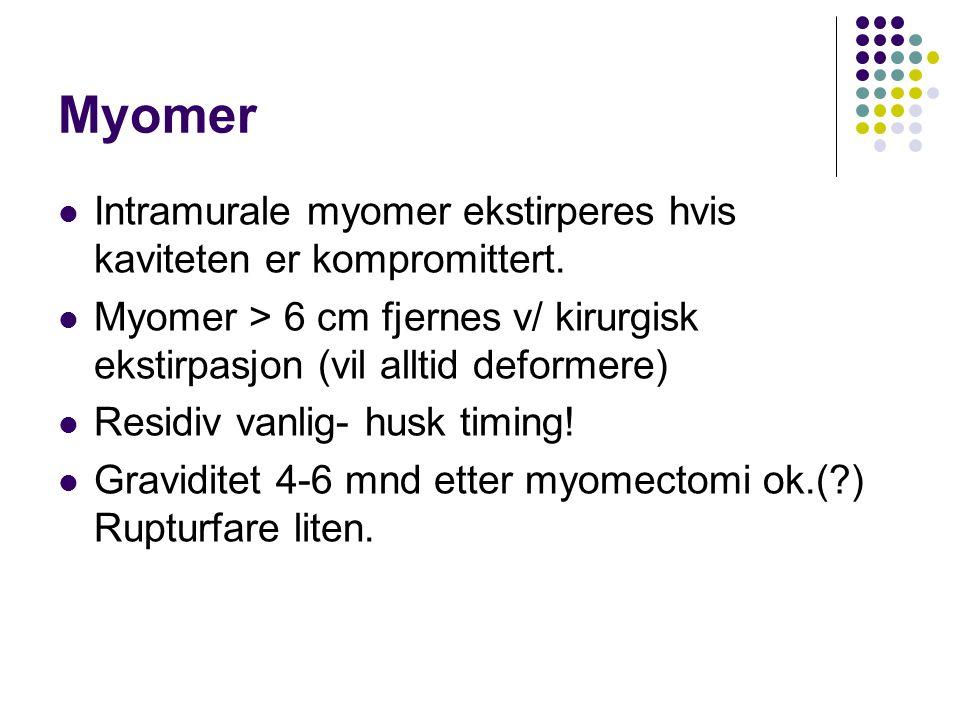 Myomer Intramurale myomer ekstirperes hvis kaviteten er kompromittert. Myomer > 6 cm fjernes v/ kirurgisk ekstirpasjon (vil alltid deformere) Residiv