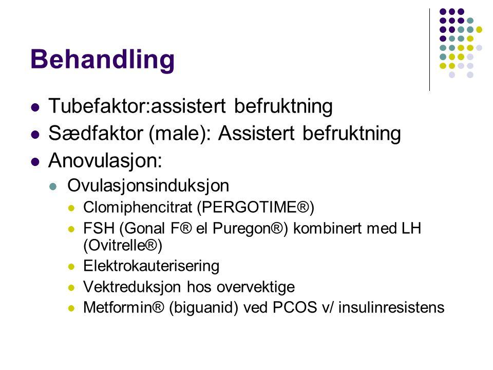 Behandling Tubefaktor:assistert befruktning Sædfaktor (male): Assistert befruktning Anovulasjon: Ovulasjonsinduksjon Clomiphencitrat (PERGOTIME®) FSH