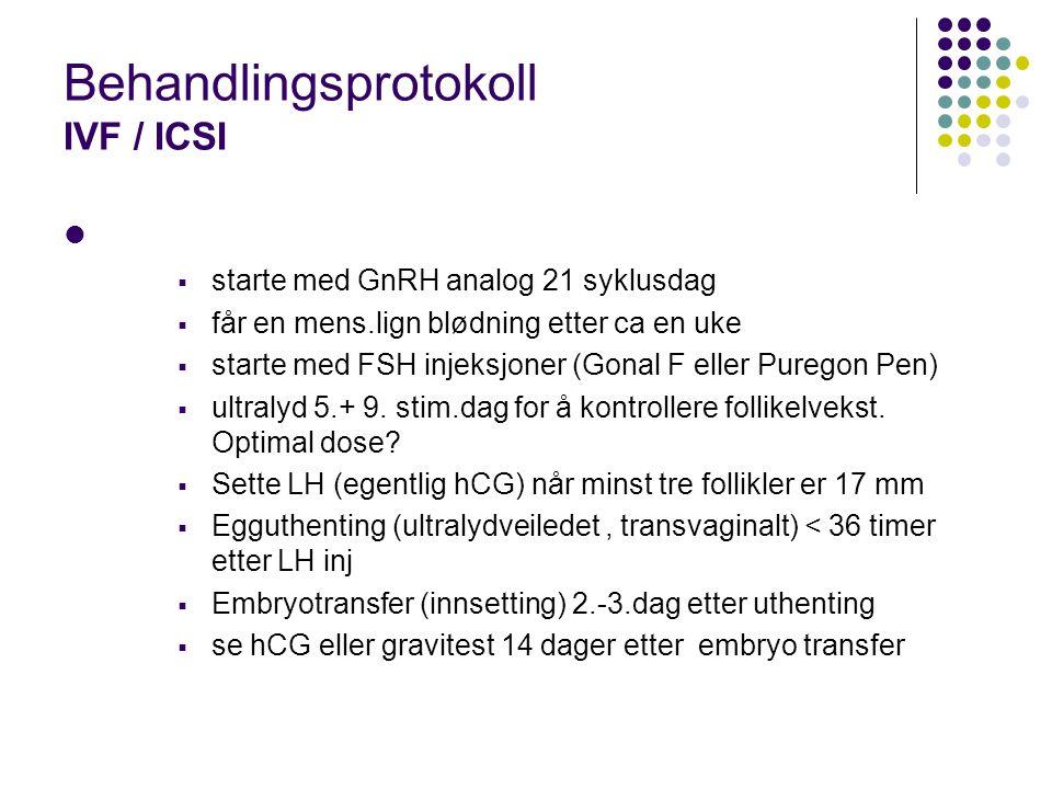 Behandlingsprotokoll IVF / ICSI  starte med GnRH analog 21 syklusdag  får en mens.lign blødning etter ca en uke  starte med FSH injeksjoner (Gonal
