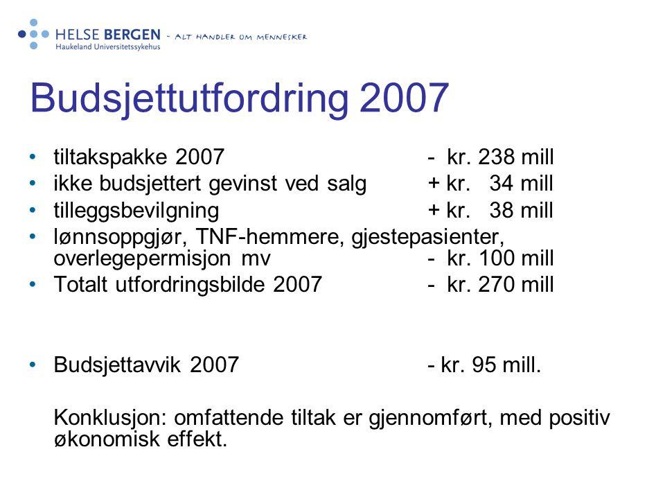 Budsjettutfordring 2007 tiltakspakke 2007 - kr. 238 mill ikke budsjettert gevinst ved salg+ kr. 34 mill tilleggsbevilgning+ kr. 38 mill lønnsoppgjør,