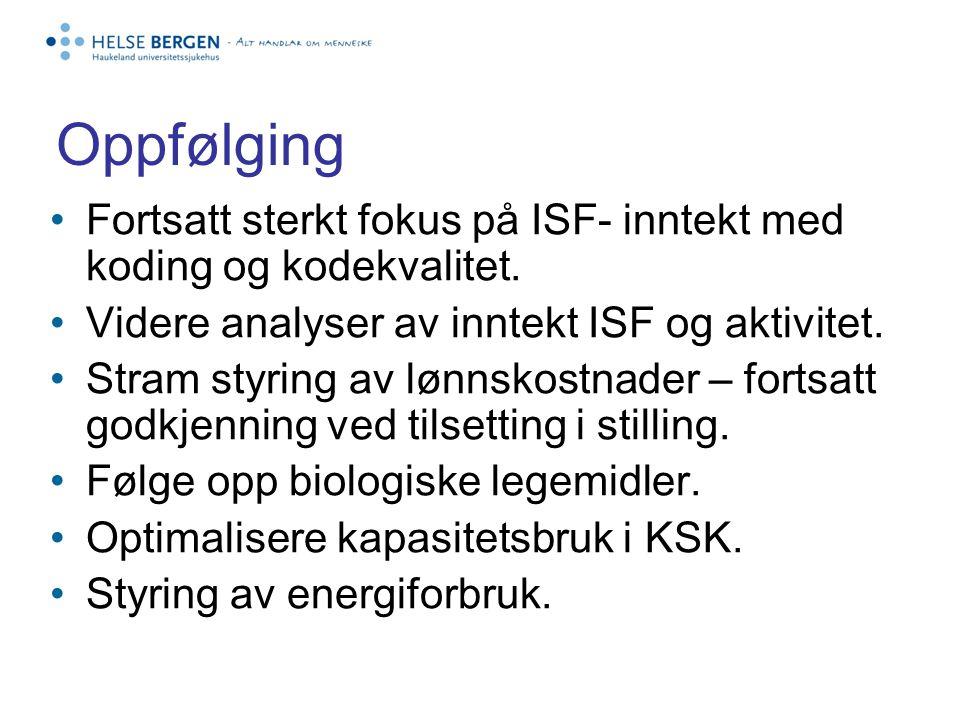 Oppfølging Fortsatt sterkt fokus på ISF- inntekt med koding og kodekvalitet.
