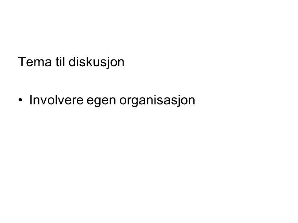 Tema til diskusjon Involvere egen organisasjon