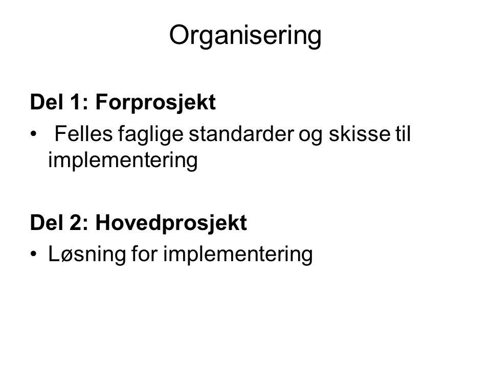 Organisering Del 1: Forprosjekt Felles faglige standarder og skisse til implementering Del 2: Hovedprosjekt Løsning for implementering