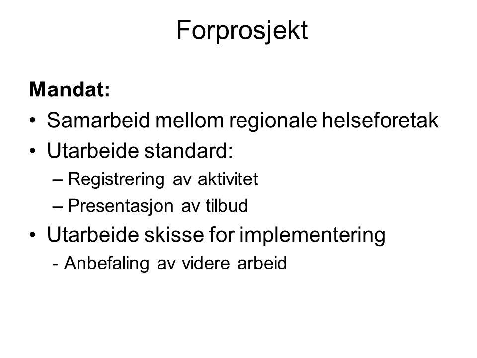 Forprosjekt Mandat: Samarbeid mellom regionale helseforetak Utarbeide standard: –Registrering av aktivitet –Presentasjon av tilbud Utarbeide skisse for implementering - Anbefaling av videre arbeid