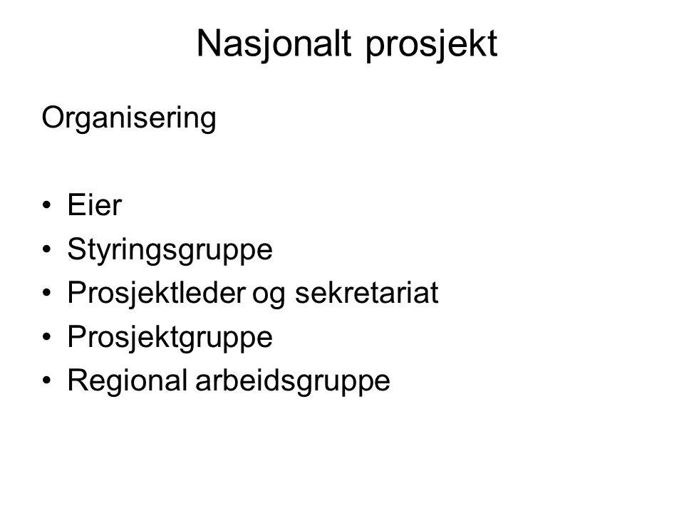 Nasjonalt prosjekt Organisering Eier Styringsgruppe Prosjektleder og sekretariat Prosjektgruppe Regional arbeidsgruppe
