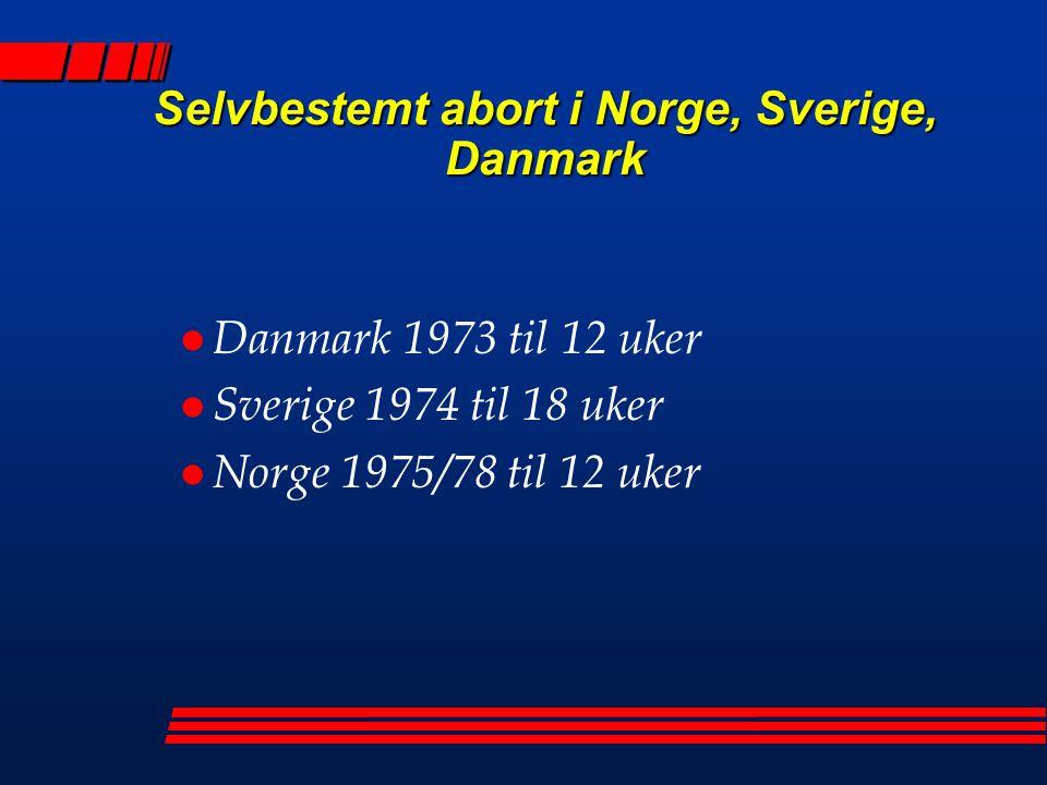 Selvbestemt abort i Norge, Sverige, Danmark l Danmark 1973 til 12 uker l Sverige 1974 til 18 uker l Norge 1975/78 til 12 uker