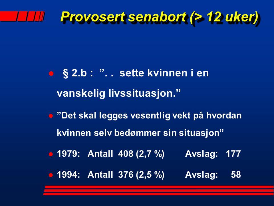 """Provosert senabort (> 12 uker) Provosert senabort (> 12 uker) l § 2.b : """".. sette kvinnen i en vanskelig livssituasjon."""" l """"Det skal legges vesentlig"""