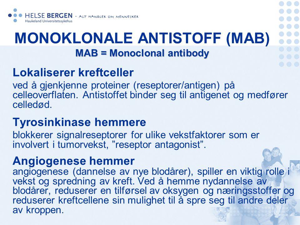 MAB = Monoclonal antibody MONOKLONALE ANTISTOFF (MAB) MAB = Monoclonal antibody Lokaliserer kreftceller ved å gjenkjenne proteiner (reseptorer/antigen
