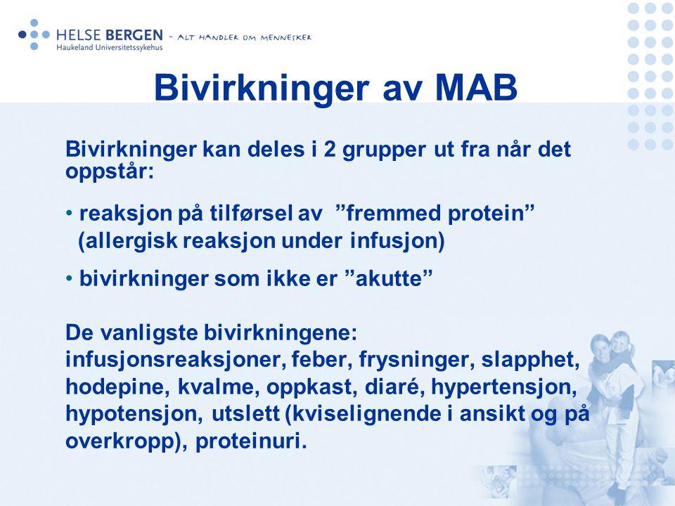"""Bivirkninger av MAB Bivirkninger kan deles i 2 grupper ut fra når det oppstår: reaksjon på tilførsel av """"fremmed protein"""" (allergisk reaksjon under in"""