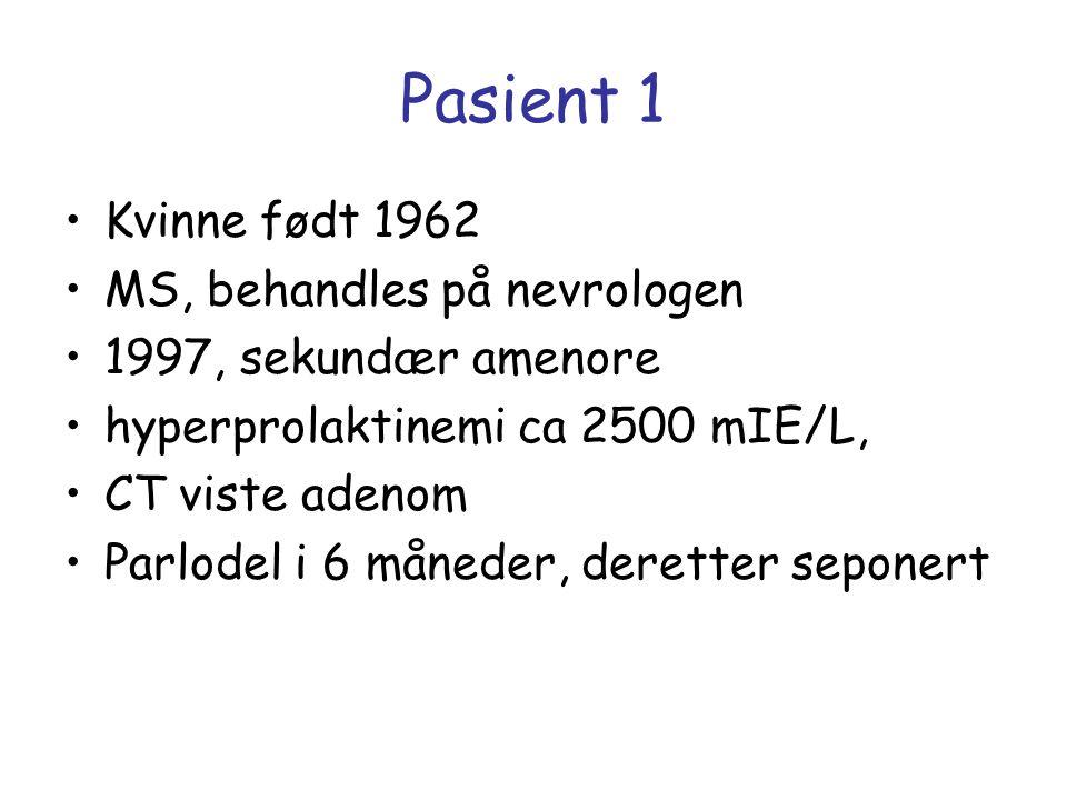 Pasient 1 Kvinne født 1962 MS, behandles på nevrologen 1997, sekundær amenore hyperprolaktinemi ca 2500 mIE/L, CT viste adenom Parlodel i 6 måneder, d