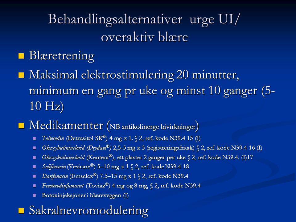 Behandlingsalternativer urge UI/ overaktiv blære Blæretrening Blæretrening Maksimal elektrostimulering 20 minutter, minimum en gang pr uke og minst 10 ganger (5- 10 Hz) Maksimal elektrostimulering 20 minutter, minimum en gang pr uke og minst 10 ganger (5- 10 Hz) Medikamenter ( NB antikolinerge bivirkninger ) Medikamenter ( NB antikolinerge bivirkninger ) Tolterodin (Detrusitol SR ® ) 4 mg x 1.