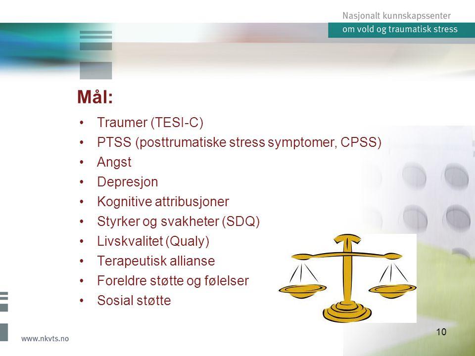 Mål: Traumer (TESI-C) PTSS (posttrumatiske stress symptomer, CPSS) Angst Depresjon Kognitive attribusjoner Styrker og svakheter (SDQ) Livskvalitet (Qualy) Terapeutisk allianse Foreldre støtte og følelser Sosial støtte 10
