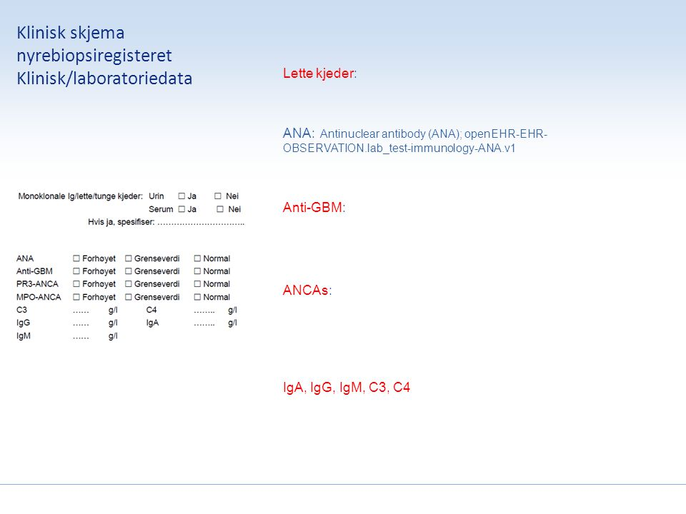 Klinisk skjema nyrebiopsiregisteret Antatt diagnose Terminologie .
