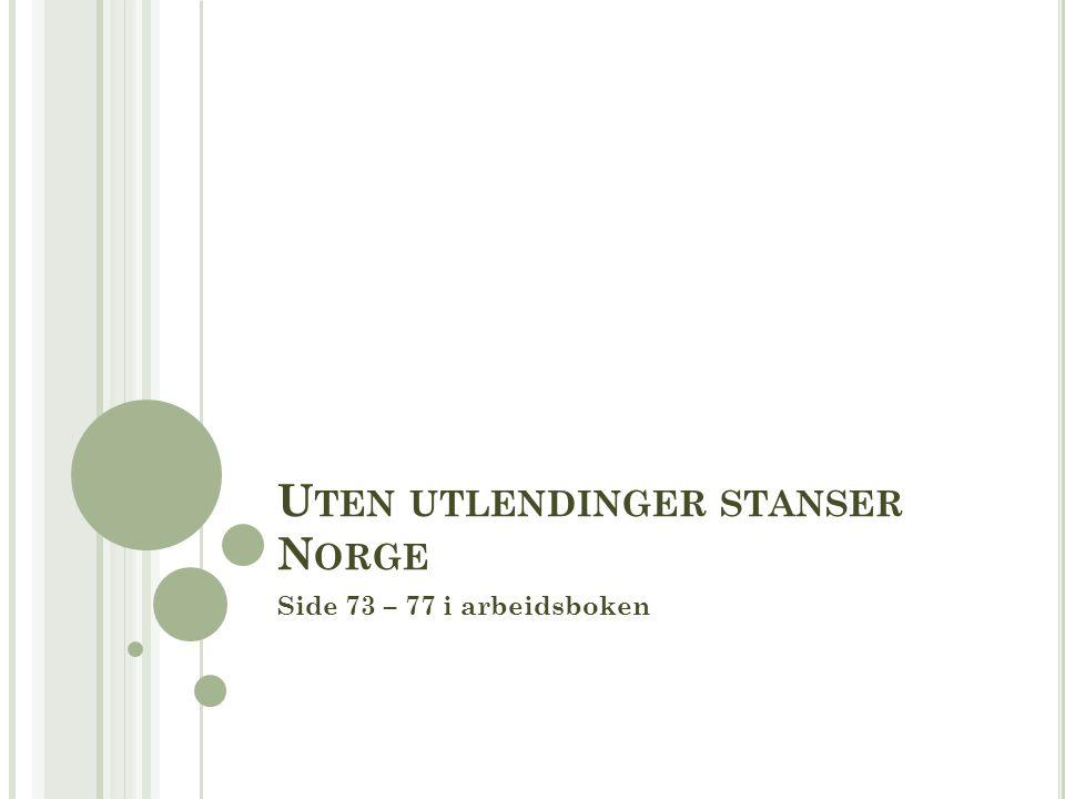 U TEN UTLENDINGER STANSER N ORGE Side 73 – 77 i arbeidsboken