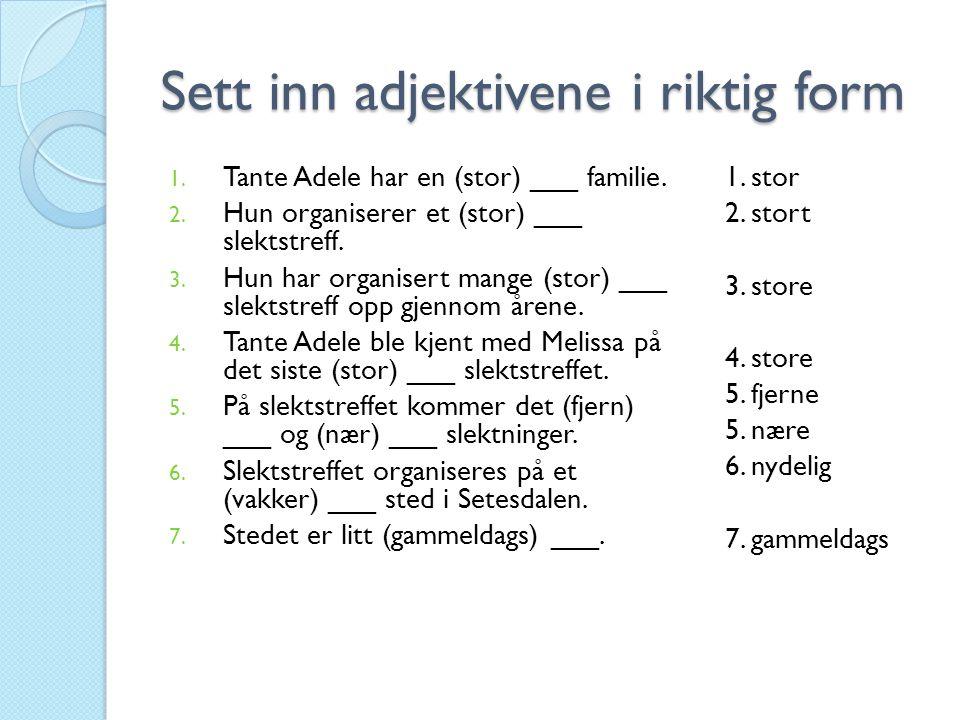 Sett inn adjektivene i riktig form 1.Tante Adele har en (stor) ___ familie.