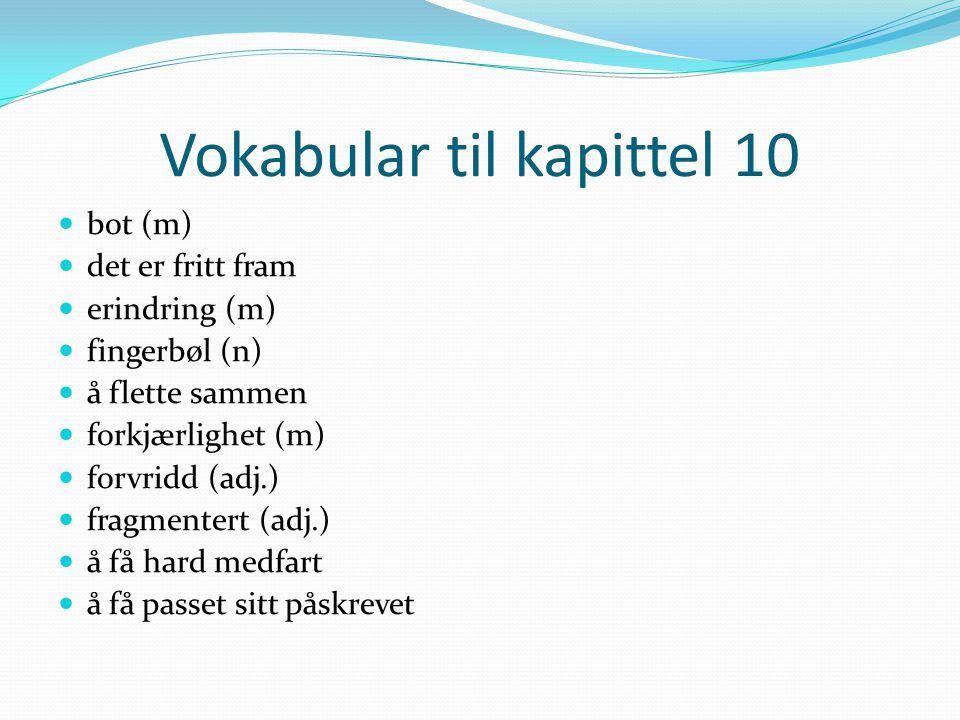 Vokabular til kapittel 10 bot (m) det er fritt fram erindring (m) fingerbøl (n) å flette sammen forkjærlighet (m) forvridd (adj.) fragmentert (adj.) å
