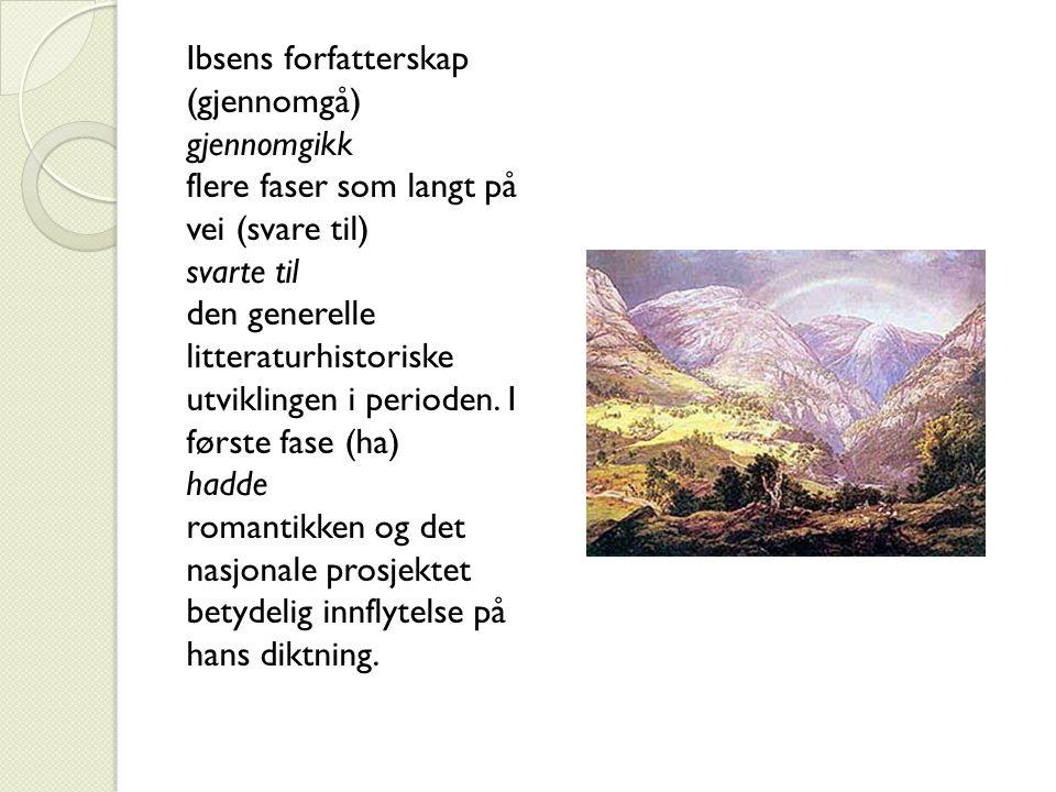 Ibsens forfatterskap (gjennomgå) gjennomgikk flere faser som langt på vei (svare til) svarte til den generelle litteraturhistoriske utviklingen i peri