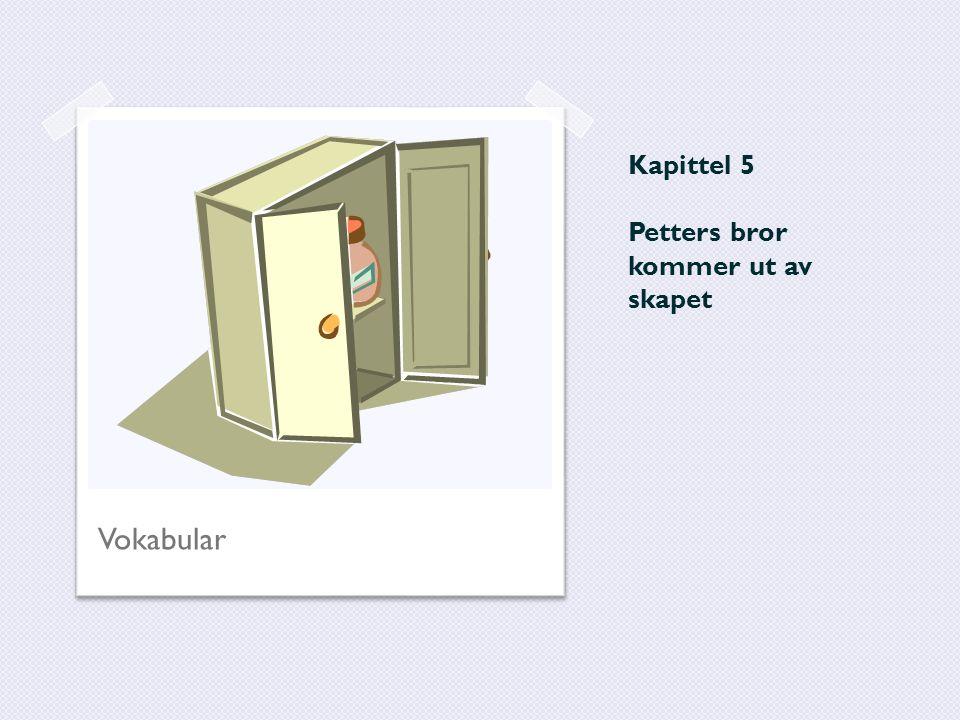 Kapittel 5 Petters bror kommer ut av skapet Vokabular
