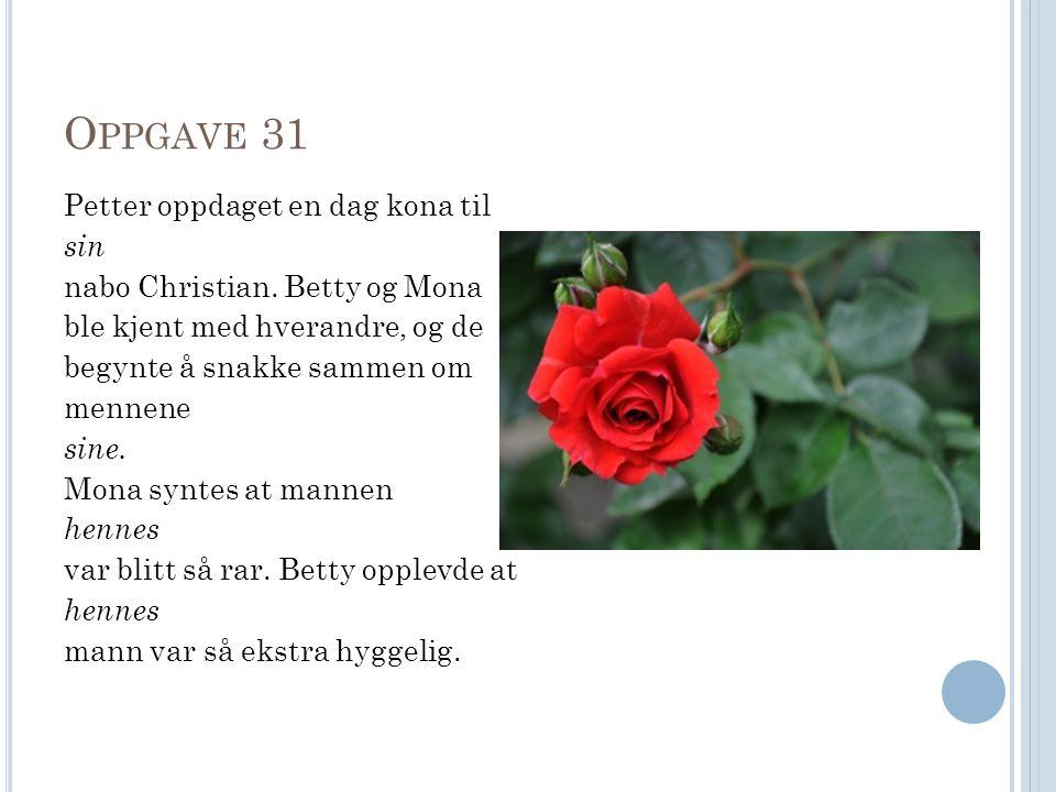 O PPGAVE 31 Petter oppdaget en dag kona til sin nabo Christian.