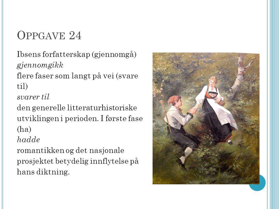 O PPGAVE 24 Ibsens forfatterskap (gjennomgå) gjennomgikk flere faser som langt på vei (svare til) svarer til den generelle litteraturhistoriske utvikl
