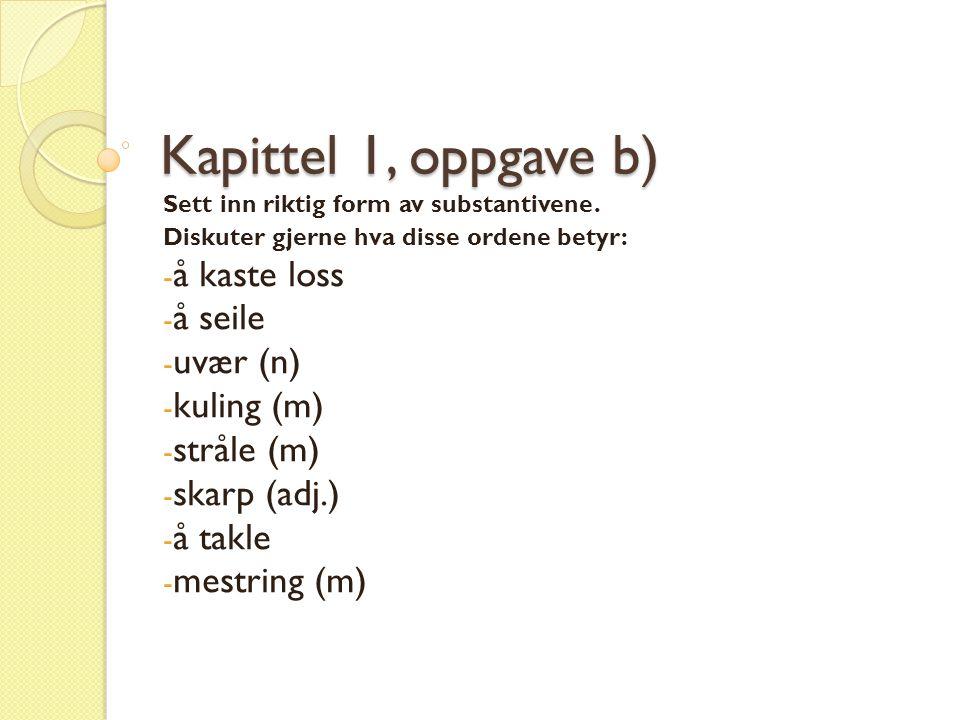 Kapittel 1, oppgave b) Sett inn riktig form av substantivene.