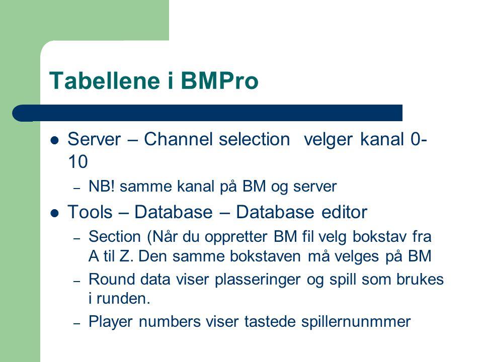 Tabellene i BMPro Server – Channel selection velger kanal 0- 10 – NB.