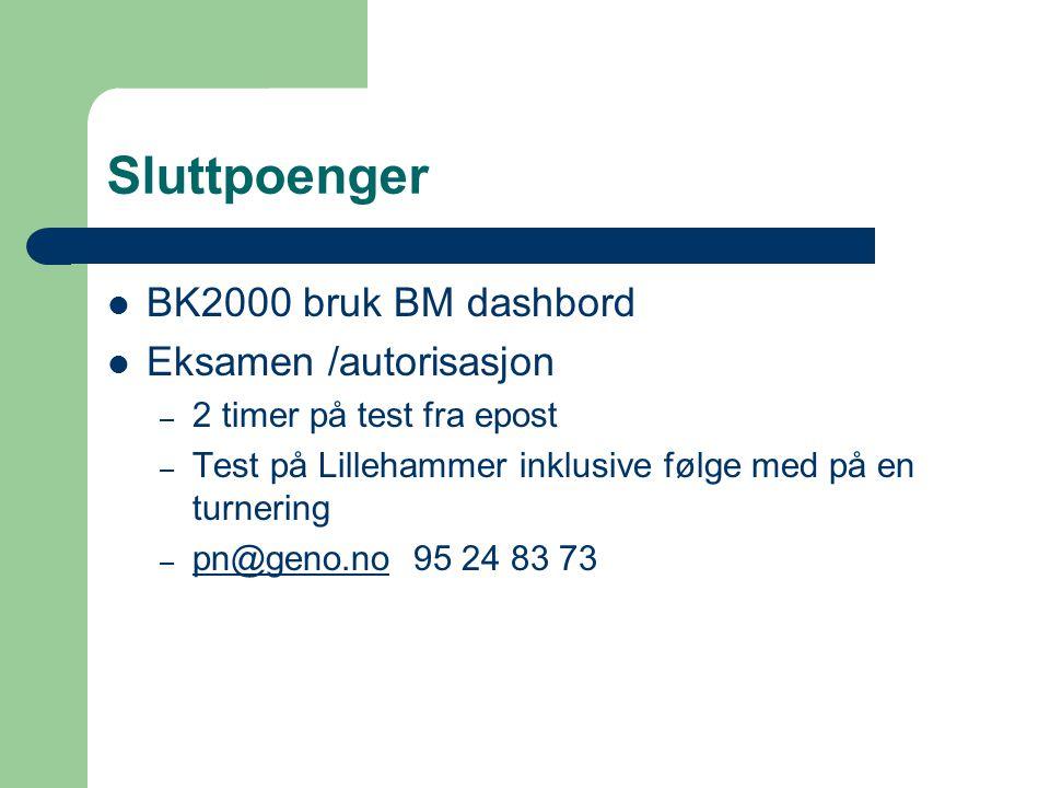Sluttpoenger BK2000 bruk BM dashbord Eksamen /autorisasjon – 2 timer på test fra epost – Test på Lillehammer inklusive følge med på en turnering – pn@geno.no 95 24 83 73 pn@geno.no
