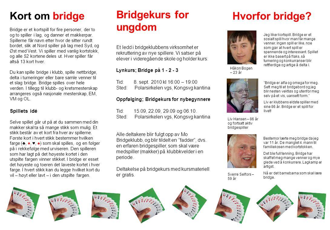 Kort om bridge Bridge er et kortspill for fire personer, der to og to spiller i lag, og danner et makkerpar. Spillerne får navn etter hvor de sitter r