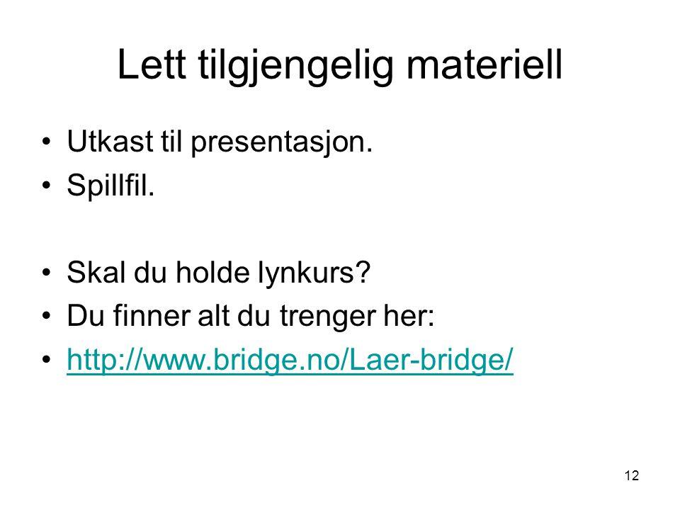 Lett tilgjengelig materiell Utkast til presentasjon. Spillfil. Skal du holde lynkurs? Du finner alt du trenger her: http://www.bridge.no/Laer-bridge/