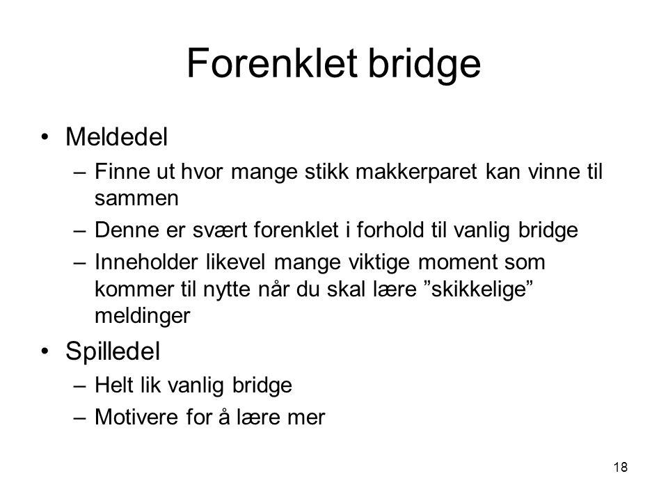 Forenklet bridge Meldedel –Finne ut hvor mange stikk makkerparet kan vinne til sammen –Denne er svært forenklet i forhold til vanlig bridge –Inneholde