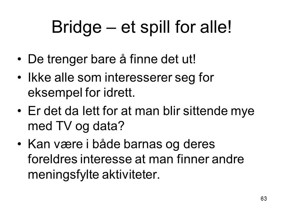 Bridge – et spill for alle! De trenger bare å finne det ut! Ikke alle som interesserer seg for eksempel for idrett. Er det da lett for at man blir sit
