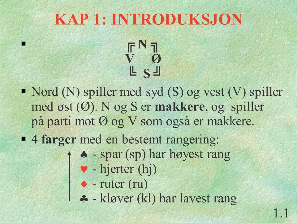 KAP 1: INTRODUKSJON  ╔ N ╗ V Ø ╚ S ╝  Nord (N) spiller med syd (S) og vest (V) spiller med øst (Ø).