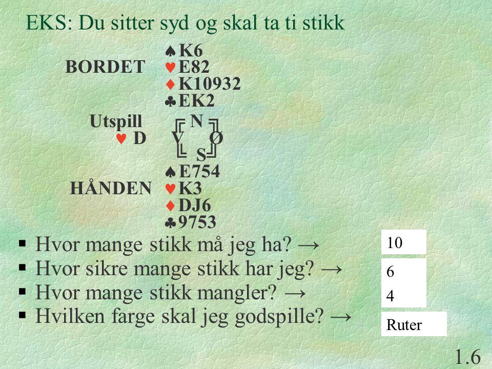 EKS: Du sitter syd og skal ta ti stikk  K6 BORDET E82  K10932  EK2 Utspill ╔ N ╗ D V Ø ╚ S╝  E754 HÅNDEN K3  DJ6  9753  Hvor mange stikk må jeg ha.