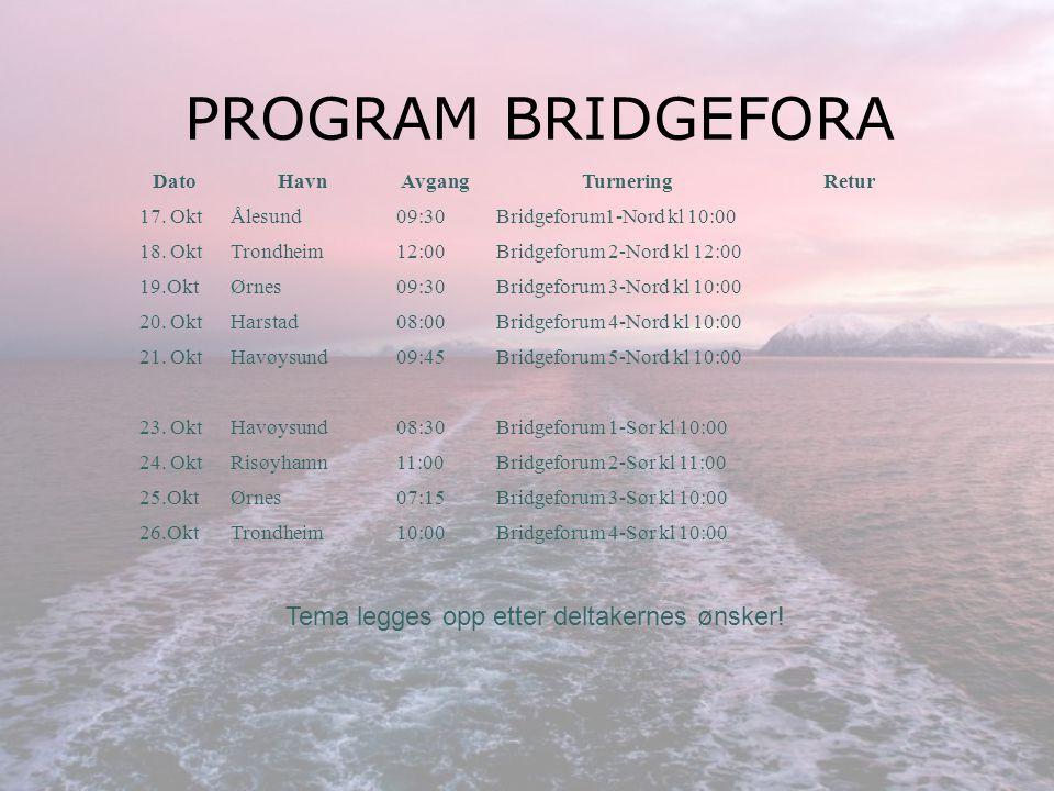 PRISEKSEMPLER Bergen – Kirkenes (7 dager) Avreise fra Bergen: 16.10.13 kl.