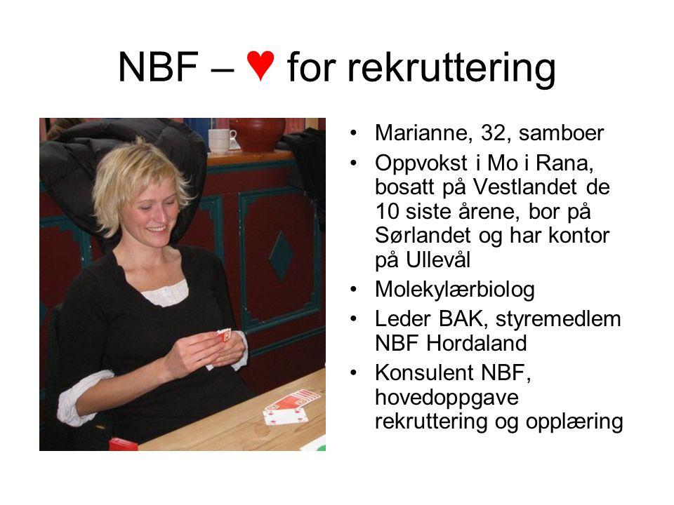 NBF – ♥ for rekruttering Marianne, 32, samboer Oppvokst i Mo i Rana, bosatt på Vestlandet de 10 siste årene, bor på Sørlandet og har kontor på Ullevål Molekylærbiolog Leder BAK, styremedlem NBF Hordaland Konsulent NBF, hovedoppgave rekruttering og opplæring