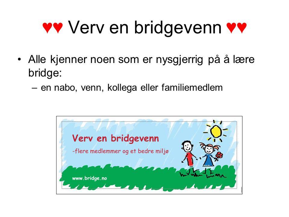 ♥♥ Verv en bridgevenn ♥♥ Alle kjenner noen som er nysgjerrig på å lære bridge: –en nabo, venn, kollega eller familiemedlem