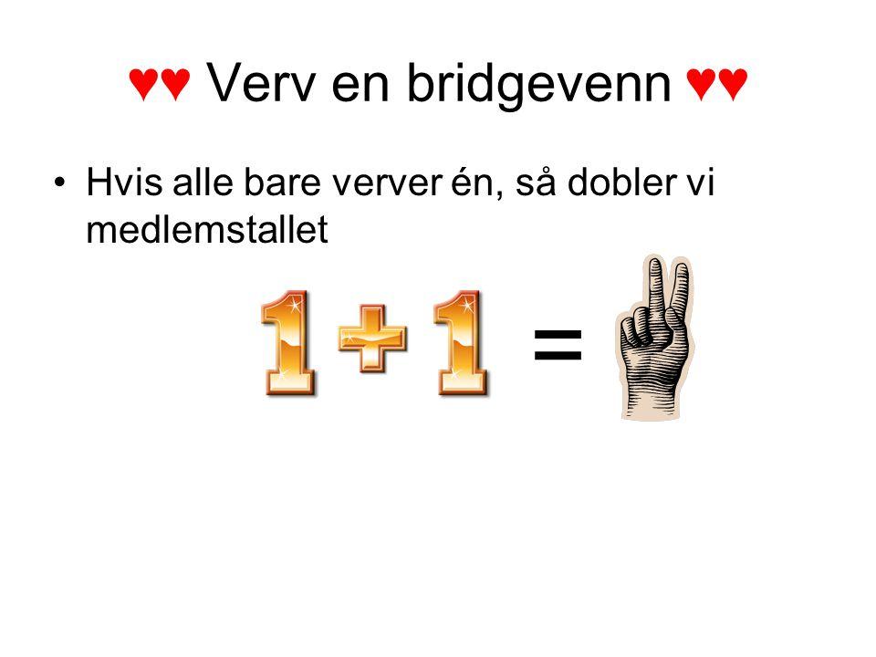 ♥♥ Verv en bridgevenn ♥♥ Hvis alle bare verver én, så dobler vi medlemstallet =