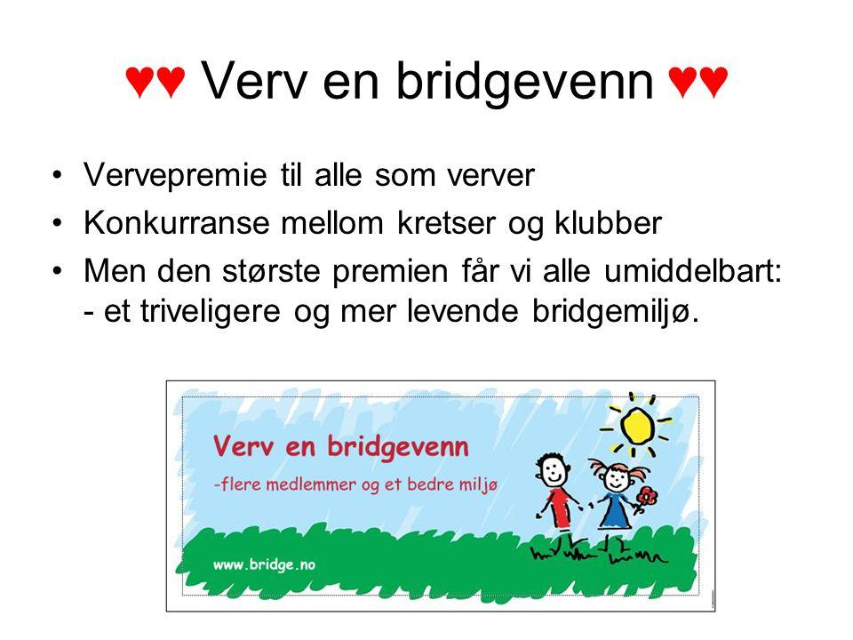♥♥ Verv en bridgevenn ♥♥ Vervepremie til alle som verver Konkurranse mellom kretser og klubber Men den største premien får vi alle umiddelbart: - et triveligere og mer levende bridgemiljø.